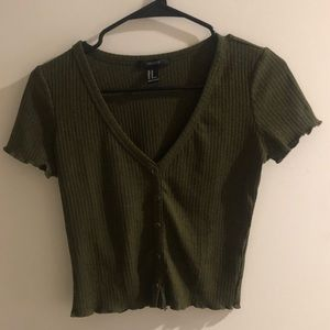 Green Crop Top With Button Detail | Forever21